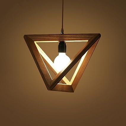 MEGSYL Lámparas Triangulares de Madera Maciza, lámpara de ...