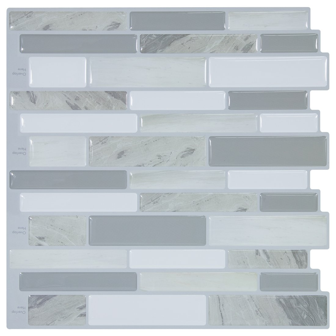Hue Decoration Modern Grey Peel And Stick Subway Tiles Vinyl