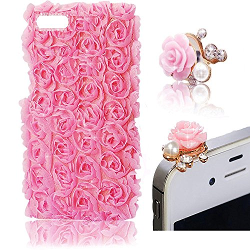 Vandot 2 In1 Case Cover Shell Set Di Accessori Rosa Rosa Custodia Protettiva Per Smart Phone Apple iPhone 5 5S 3D Bling Strass Pelle Del Skin Sacchetto Bag Della Copertura Del Fiore Di Scintillio Del