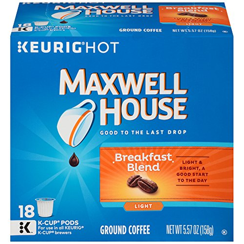 MAXWELL HOUSE Breakfast Blend Coffee, K-CUP Pods, 18 count
