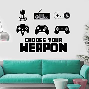 Teen Funny Game Controller wall sticker elige tu arma video game design vinyl Wall Decal mural Boys Room decor42x34cm Gamer: Amazon.es: Bebé