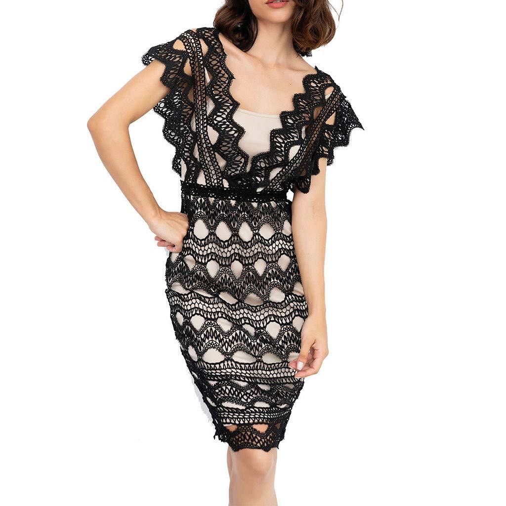 Reokoou Women's Lace Mini Dress Short Skirt Black