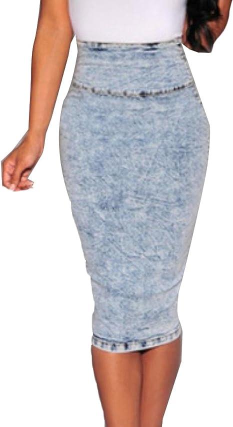 ANDYOU-Women Dividir Moda causal debajo de la rodilla de la falda ...