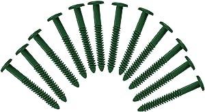(Heritage Green) Pack of 12 Vinyl Shutter Fastener Spike Loks for Installing Decorative Exterior Vinyl Shutters