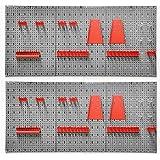 2 Stück Werkzeugwand aus Metall. Jede Lochwand mit Maß ca. 120 x 58 cm sowie Hakensortiment 14 Teile. In Grau und Rot.