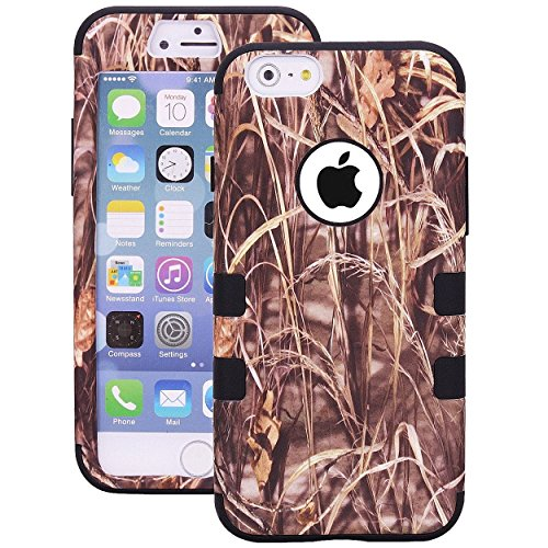 Tech Express (Tm) Black Trim Grass Camo Mossy Oak Design Real Camoflauge Hunter Hunting Southern Pride Design 3 Piece Snap On Tough Defender Shock Proof Cover Case for Apple iPhone 6 or 6s / 6g 4.7