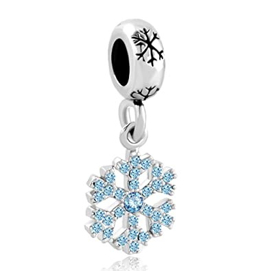 Uniqueen Snowflake Dangle Charms Beads for Charm Bracelets EsskR