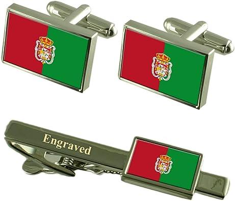 Granada Ciudad Bandera España Gemelos Grabado Set Clip de Corbata: Amazon.es: Joyería