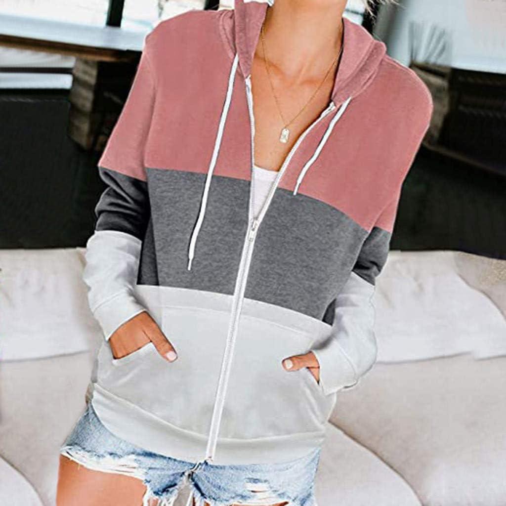 COOKI Womens Lightweight Striped Print Pullover Hoodie Sweatshirt Zipper Long Sleeve Hooded Pullover Sweatshirt Jacket Coat