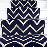 Lima Navy Chevron Design Stair Carpet in 2 - 3 Widths and 1 - 64 Lengths