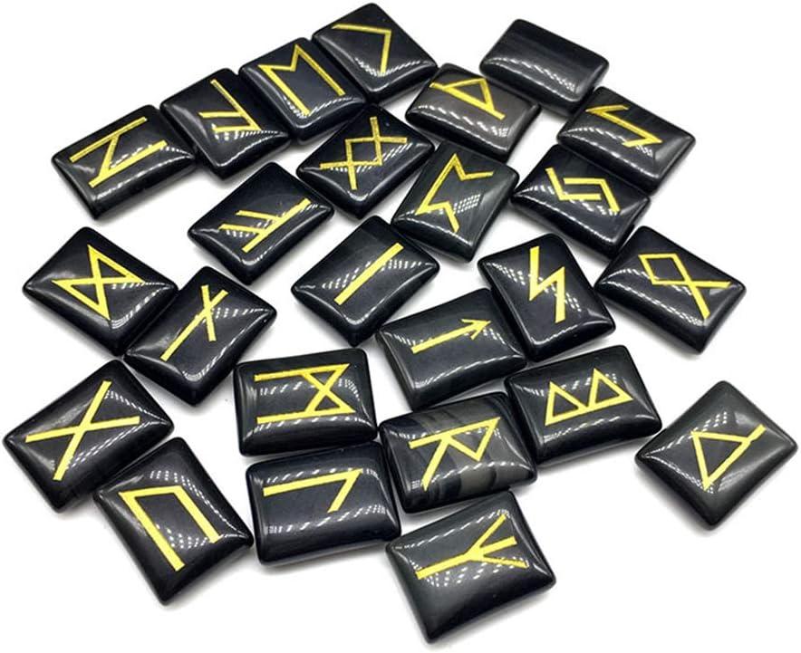 LYY Juego de Piedras de runas de adivinación de 2 Piezas (25 Piezas), Adornos artesanales, Piedras Preciosas pulidas a Mano con Palabras de runas talladas para adivinación de Fortuna
