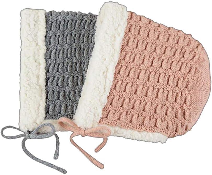 QCZD88 Los recién Nacidos Lindo Orejeras más cálido Terciopelo de Punto Sombreros de Invierno para Hombres y Mujeres Sombreros del bebé,Rosado