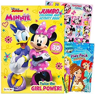 - Amazon.com: Minnie Mouse Coloring And Activity Book Set - 1 Jumbo Coloring  Book, 25 Stickers, 4 Crayons And Additional Mini Coloring Book: Toys & Games