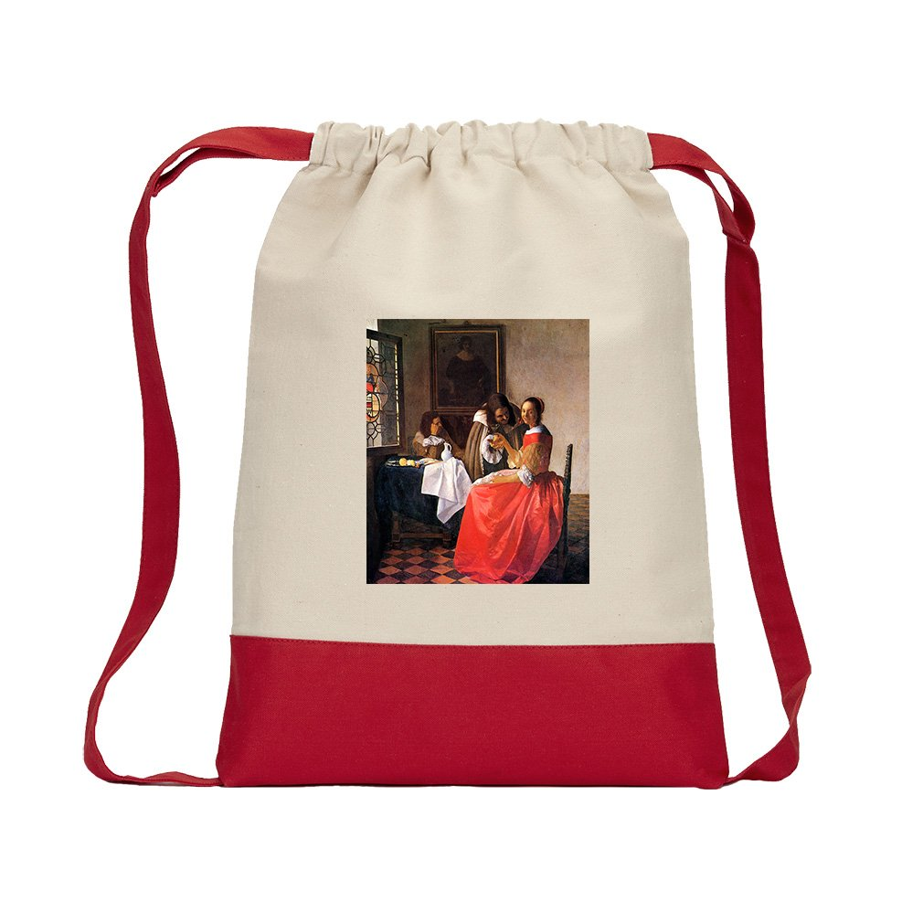 Girl With A Wine Glass (Vermeer) Canvas Backpack Color Drawstring Bag - Red