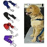 Gorgester Dog Pet Seat Belt Lead Restraint Harness Car Safety Adjustable Nylon Lead Leash Travel Clip Seatbelt (Red)