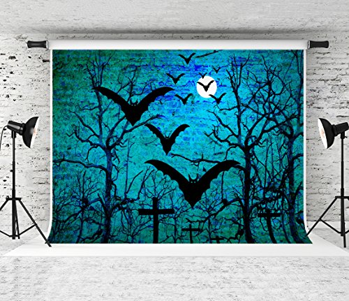 Kate 7x5ft Gloomy Night Backdrops for Photography Scary Forest Graveyard Night Backdrops Horror Theme -