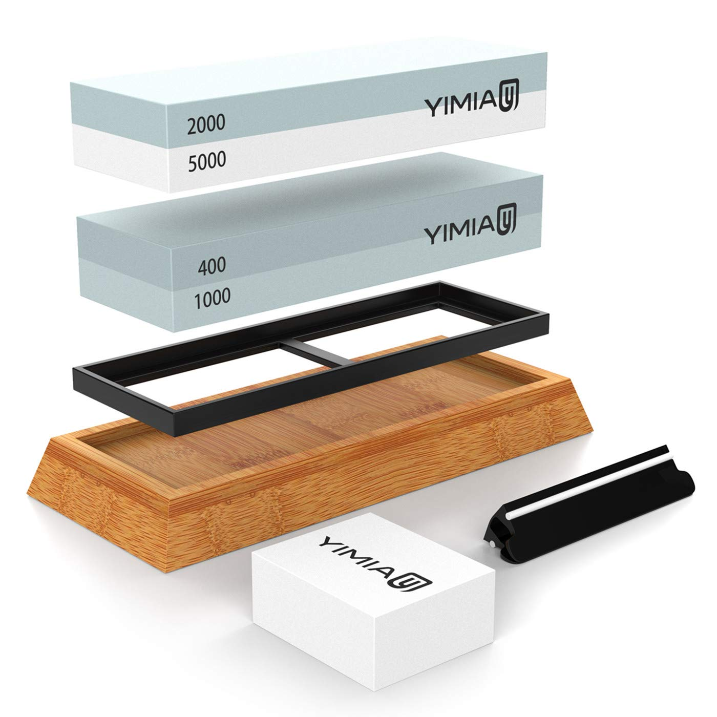Premium Knife Sharpening Stone Kit, YIMIA 4 Side Grit 400/1000 2000/5000 Whetstone, Knife Sharpener Waterstone with Non-Slip Bamboo Base & Flattening Stone & Angle Guide
