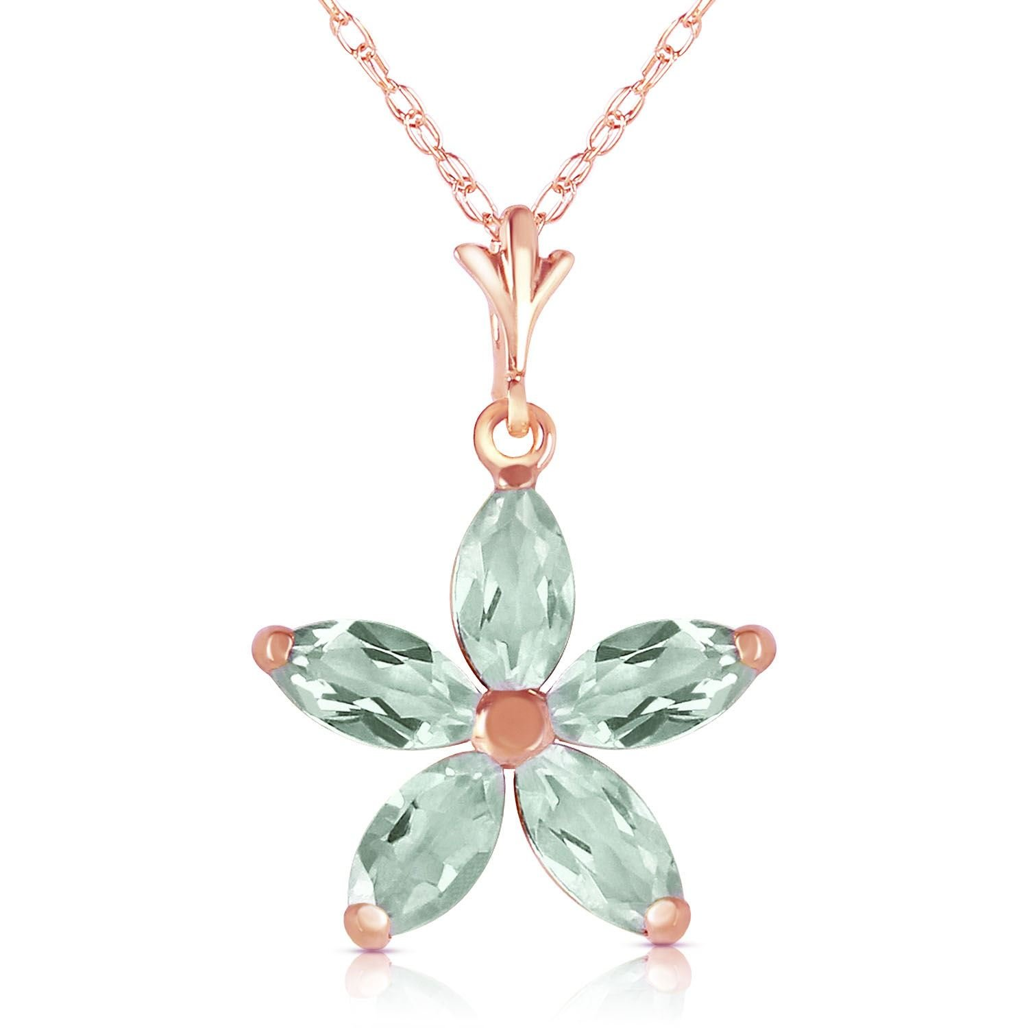ALARRI 14K Solid Rose Gold Necklace w// Natural Green Amethysts with 18 Inch Chain Length