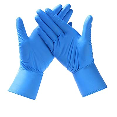 Nitrile Exam Gloves,100 Pcs Comfortable Disposable Protective Gloves - Safety, Powder Free, Latex Free (Medium, Blue): Clothing