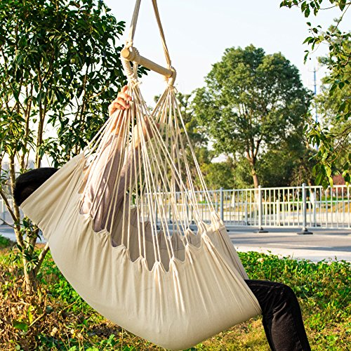 Everking hammock chairs hanging rope porch swing seat for Rope hammock plans