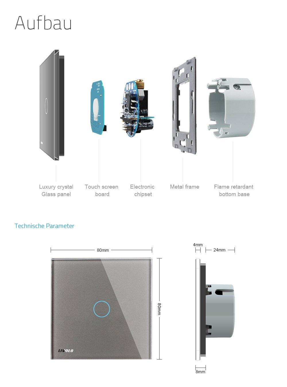 LIVOLO Grau Touch Sensor Lichtschalter mit LED Anzeige Licht Panel ...