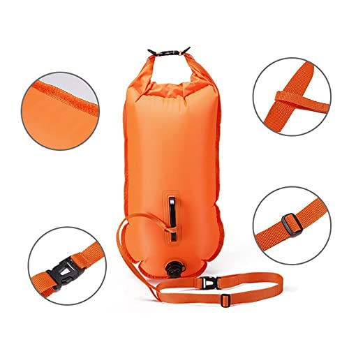 QUBABOBO Swim Buoy PVC Material 20L/28L Swimming Tow Float Plus, Dry Bag for Open Water swimmers and Triathletes Orange