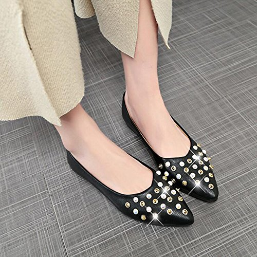 Shallow Comfort PU Flat Shoes GAOLIXIA Casual 3 Fashion Women's Shoes Black Summer Shoes Comfort Walking Shoes Colors Bean Women's Rivets Outdoor Mouth 45qvwqXxz