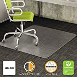 Deflect-o DuraMat Chairmat - Carpeted Floor - 60'' Length x 46'' Width - Vinyl - Clear