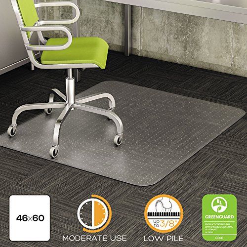 deflect-o CM13443F 46 by 60-Inch Duramat Beveled Chair Mat for Low Pile Carpet, Clear