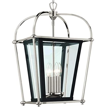 Langdon mills baron 4 light 14 polished nickel matte black foyer lantern chandelier island