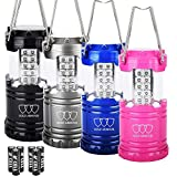 Gold Armour 4Pack LED Lantern Camping Lantern - Camping Equipment Camping Gear Camping Lights for Hiking, Emergency, Hurricanes, Outages, Storms, Camping Lanterns (MultiColor)