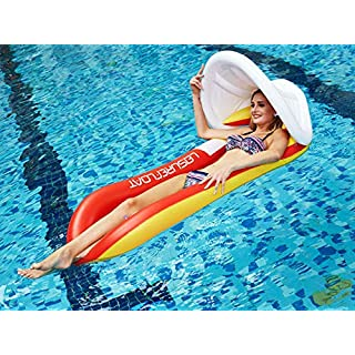 WAPAG Pool Floats for Adults, Inflatable Pool Float with Canopy for Summer Pool Party, Luxury Red Floats for Adults & Kids