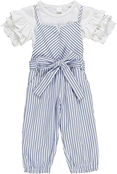Toddler Kid Baby Girl Short Sleeve Bowknot T shirt+Striped Loose Pants Cloth Set