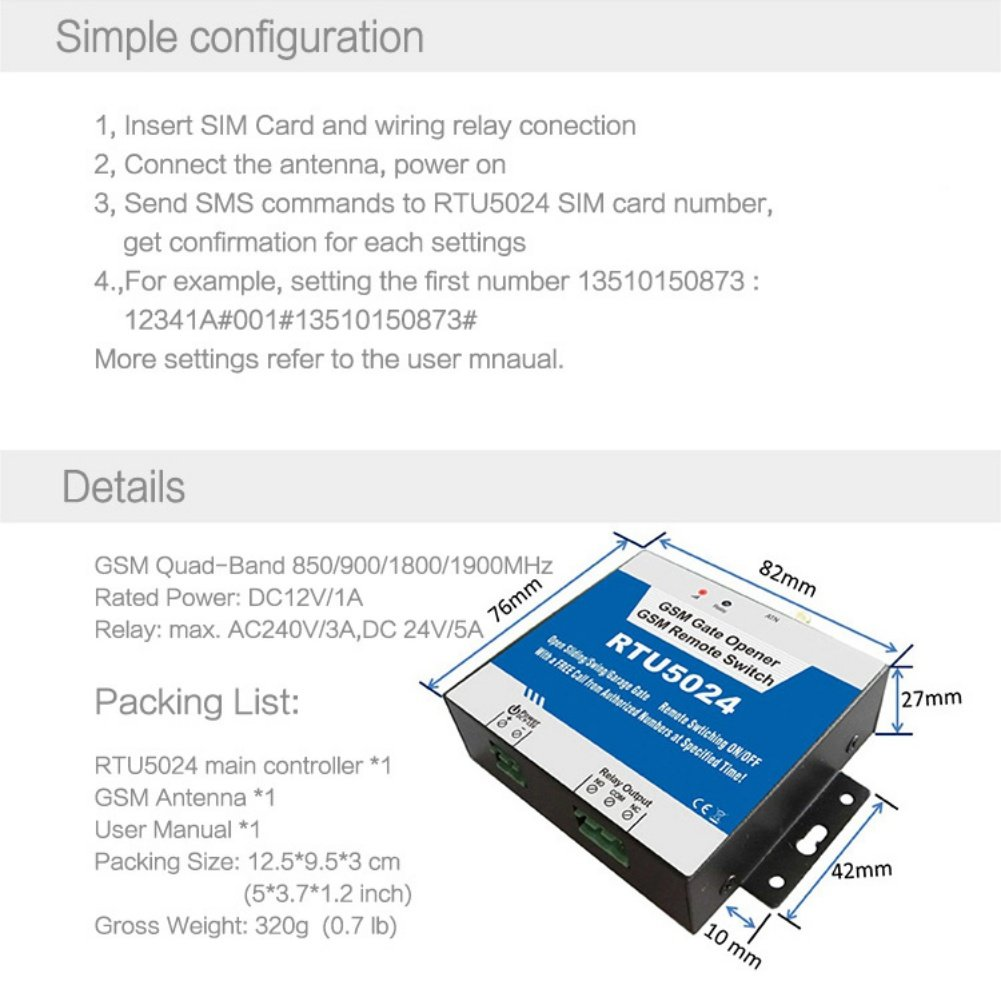 New Rtu5024 Gsm 3g Gate Opener Swing Sliding Garage Wiring Diagram Remote Switching On Off Home Improvement