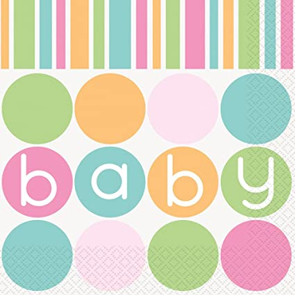 Pastel Baby Shower Napkins, 16ct