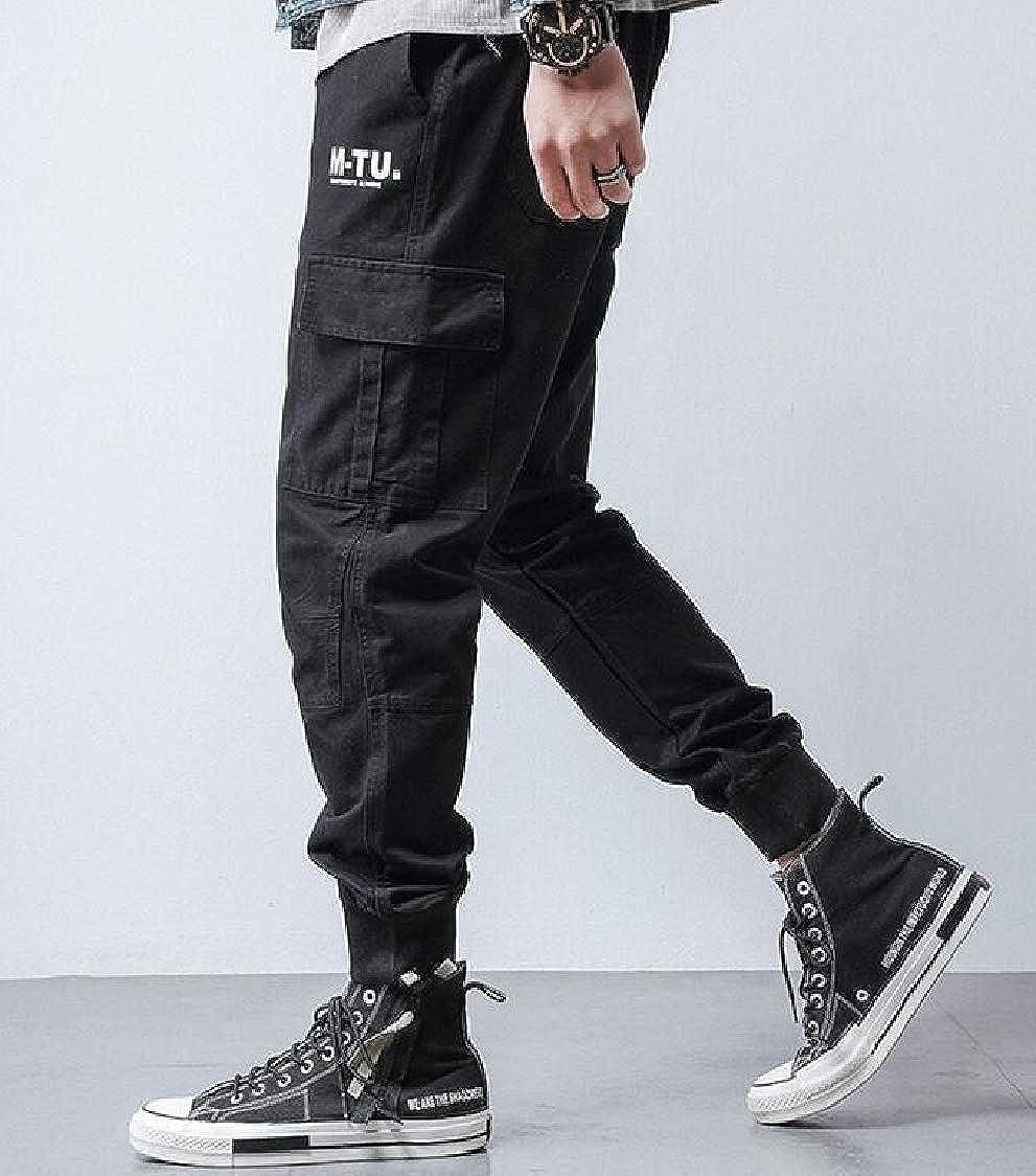 Lutratocro Men Trousers Stylish Multi Pockets Jogger Cotton Pants