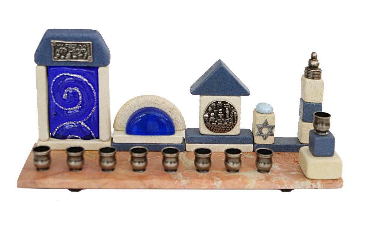 Hanukkah Menorah Collectors Unique Hanukkia Jerusalem Stone Glass & Pewter Hand Made In ISRAEL By The Renown Artist Koresh . Jewish Art. Great Gift For; Shabbat Chanoka Rabbi Temple Wedding Baby Naming Housewarming Bar Mitzvah Bat Mitzva and Jewish Homes.
