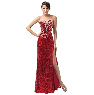 Cloverdresses Red crystals Side Split Evening Dresses Sweetheart Prom Dresses For Juniors at Amazon Womens Clothing store: