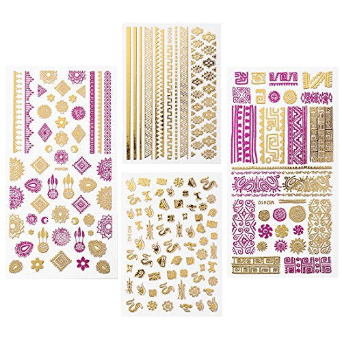 Maniology (formerly bmc) 4pcs Mythos Pink & Gold Metallic Foil Nail Art Stickers - Fast and Easy Nail Manicures Designs
