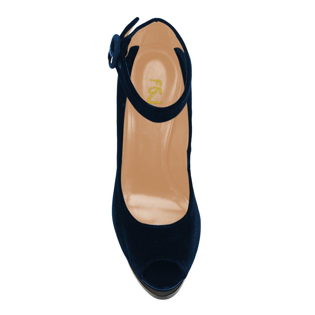 FSJ Women Ankle Strap Platform Pumps Peep Toe Chunky High Heels Faux Suede Party Sandals Size 4-15 US B0776TDCTV 9 M US|Navy