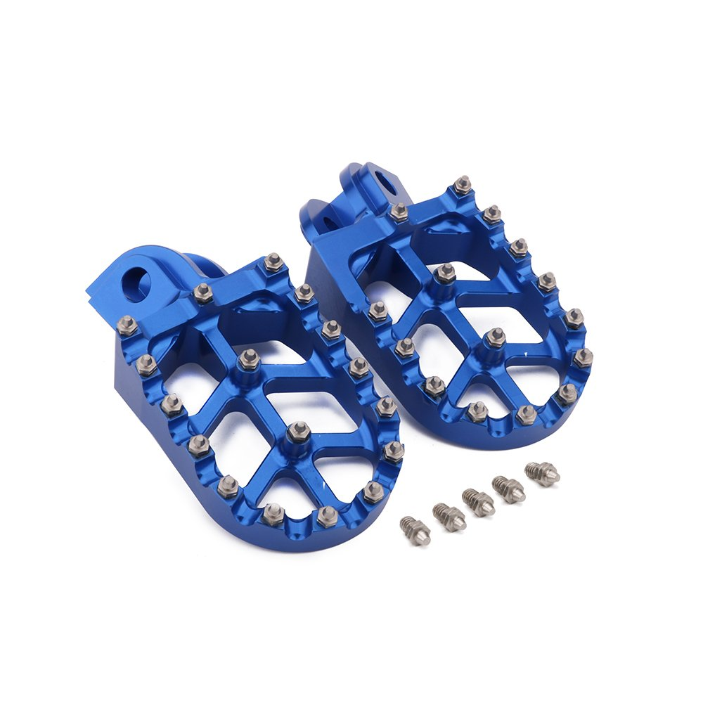 YSMOTO Foot Pegs Footpegs Footrest Pedals CNC Aluminum Foot rests For SX65 SX85 SX125 SXF250 SX250 EXC125 EXC530 EXCF125 XC150 XC300 XCF250 XCW200 Motorcycle Dirt Bike Blue