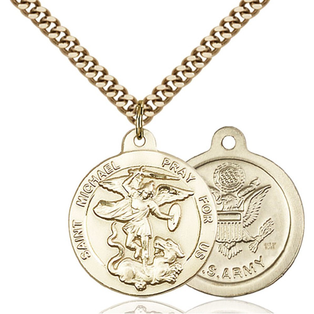 Gold Filled St. Michael the Archangel Pendant 7/8 x 3/4 inches with Heavy Curb Chain Bliss Manufacturing 0342GF2/24G