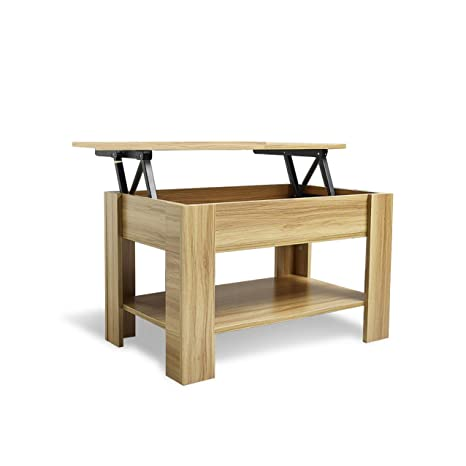 Laura James Lift Up Top Coffee Table With Storage And Shelf Oak Living Room
