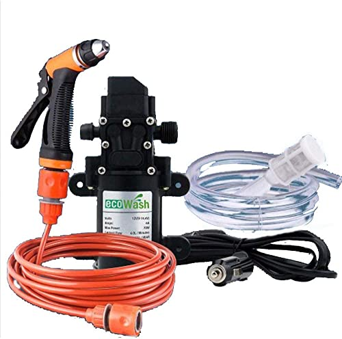 CONRAL Car Wash Pump Sprayer Kit Tool, Portable 12V 70W High Pressure Self-Priming Auto Washer Sprayer Cleaning Set with Spray Gun Pipe