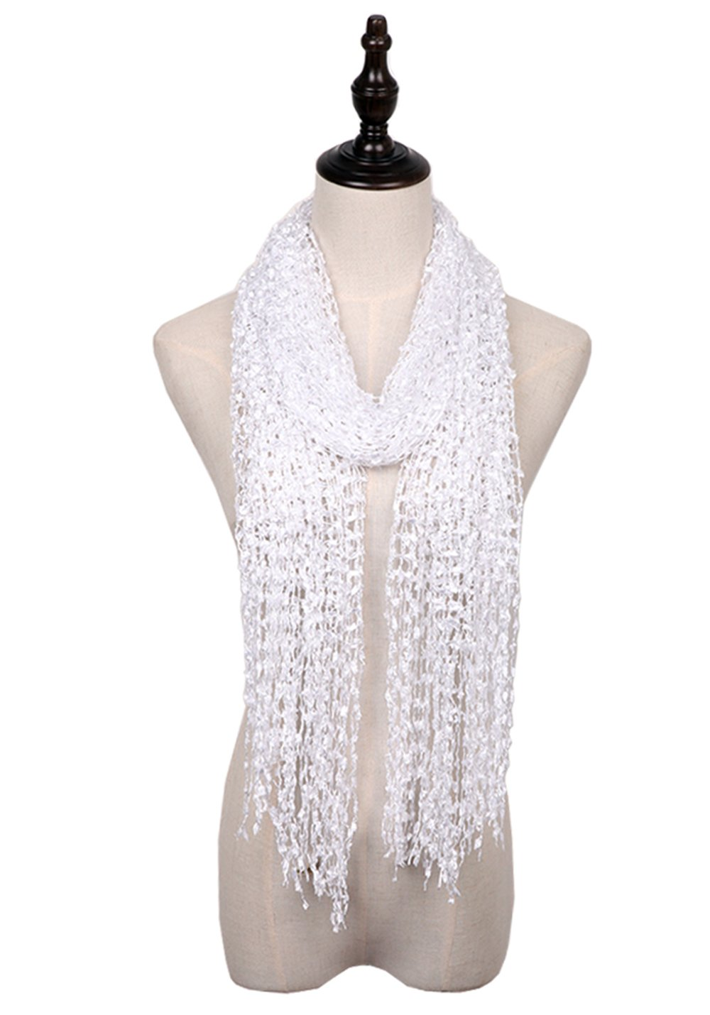 MissShorthair Lightweight Confetti Scarf Solid Women Shawls Wraps For Evening Dresses (White)