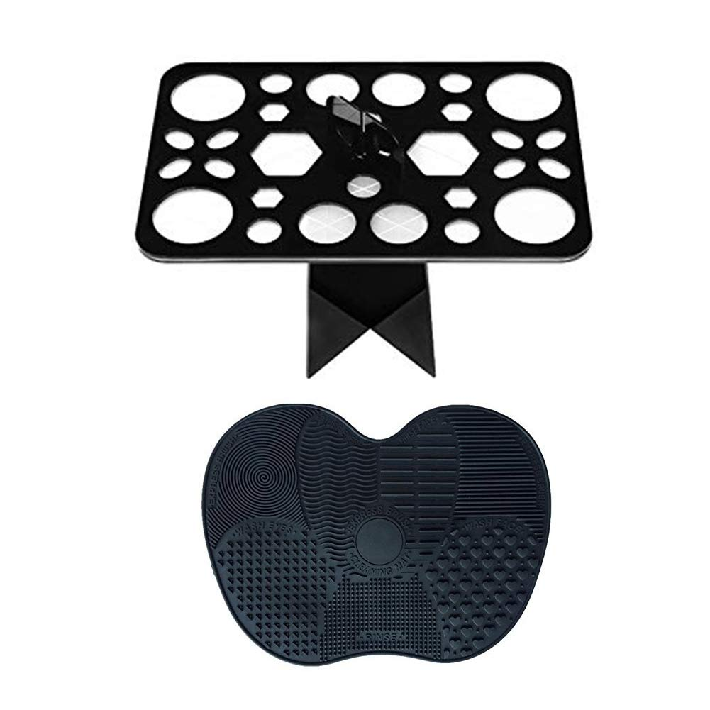 Culwad Makeup Brush Cleaner Mat and 28 Holes Makeup Brush Holder Air Drying Organizer Tools