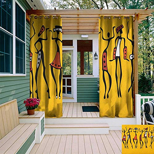 leinuoyi African, Outdoor Patio Curtains, African Dancers Sketchy Characters Ethnic Group Clan Disco Happy Graphic, Set for Patio Waterproof W84 x L108 Inch Mustard and Orange ()