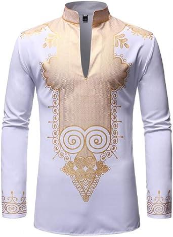 MK988 - Camisa de Trabajo para Hombre, Manga Larga, diseño Floral, Estampado Africano: Amazon.es: Ropa y accesorios