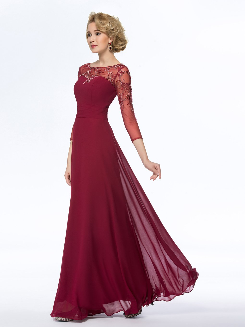 Snowskite Women's Elegant Long Sleeves Chiffon Beaded Mother of the Bride Dress Burgundy 8 by Snowskite (Image #3)