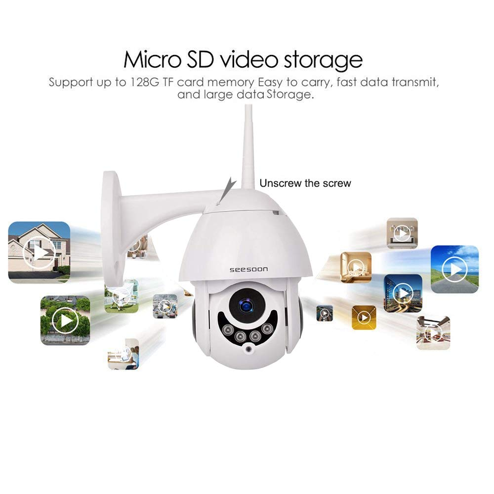 Two Way Audio,Micro SD Card Two Way Audio/,Micro SD Card Seesoon Motion Detection PTZ WiFi IP Camera 1080P HD H.265//H.264 Wireless Waterproof CCTV Security Dome Camera with 4mm F1.2 CS Lens 355/° Pan// 90/° Tilt IR-Cut Night Vision